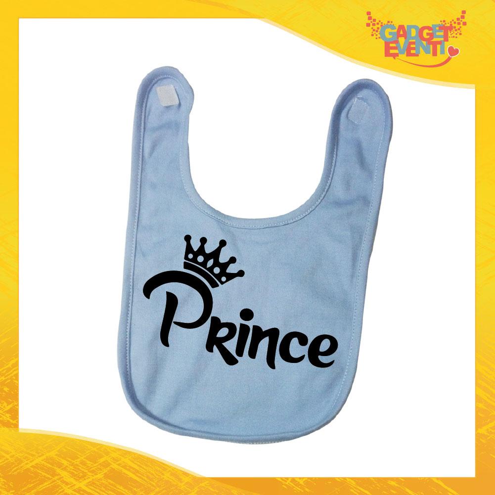 """Bavetto Azzurro Maschietto Bavaglino Bimbo """"Prince Corona"""" Gadget Eventi"""