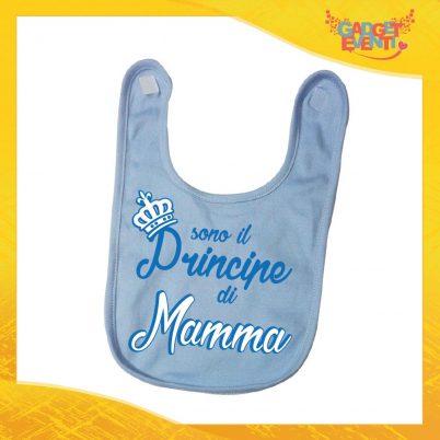 """Bavetto Azzurro Maschietto Bavaglino Bimbo """"Principe di Mamma"""" Gadget Eventi"""