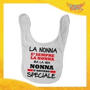 """Bavetto Bianco """"Nonna è Speciale"""" Bavaglino Bimbo Idea Regalo Festa dei Nonni Gadget Eventi"""