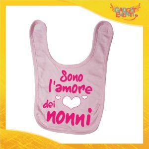 """Bavetto Rosa Femminuccia """"Sono L'amore dei Nonni"""" Bavaglino Bimba Idea Regalo Festa dei Nonni Gadget Eventi"""