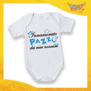 """Body Manica Corta Maschietto Neonato Bodino Bimbo Personalizzato """"Innamorato Pazzo dei miei Nonni"""" Idea Regalo Festa dei Nonni Gadget Eventi"""
