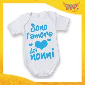 """Body Manica Corta Maschietto Neonato Bodino Bimbo Personalizzato """"Sono l'amore dei Nonni"""" Idea Regalo Festa dei Nonni Gadget Eventi"""