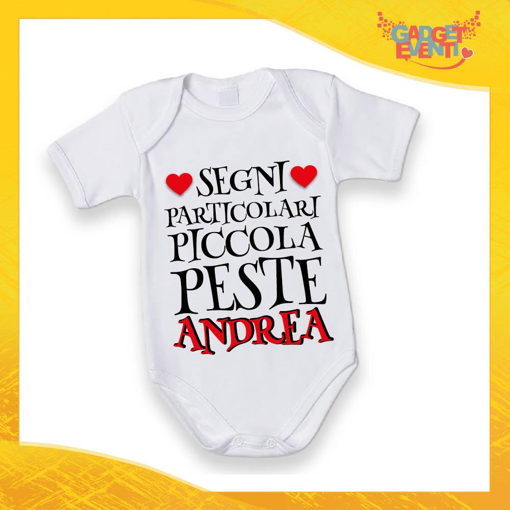 """Body Manica Corta Neonato Bodino Bimbo """"Piccola Peste con Nome Personalizzato"""" Gadget Eventi"""