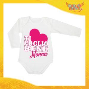 """Body Manica Lunga Femminuccia Grafica Rosa Neonato Bodino Bimba Personalizzato """"Ti Voglio Bene Nonna"""" Idea Regalo Festa dei Nonni Gadget Eventi"""