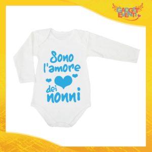 """Body Manica Lunga Maschietto Neonato Bodino Bimbo Personalizzato """"Sono l'amore dei Nonni"""" Idea Regalo Festa dei Nonni Gadget Eventi"""