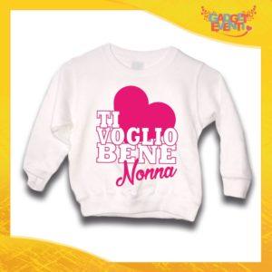 """Felpa Bianca Femminuccia Grafica Rosa Bimba """"Ti Voglio bene Nonna"""" Idea Regalo Maglione per l'inverno Festa dei Nonni Gadget Eventi"""