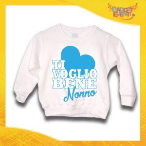 """Felpa Bianca Maschietto Grafica Azzurra Bimbo """"Ti Voglio bene Nonno"""" Idea Regalo Maglione per l'inverno Festa dei Nonni Gadget Eventi"""