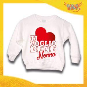 """Felpa Bianca Grafica Rossa Bimbo """"Ti Voglio bene Nonna"""" Idea Regalo Maglione per l'inverno Festa dei Nonni Gadget Eventi"""