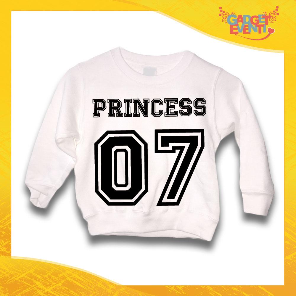 """Felpa Bianca Femminuccia Bambina Baby """"Princess con Numero Personalizzato"""" Gadget Eventi"""