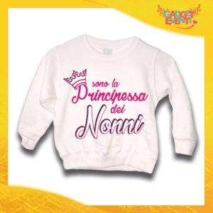 """Felpa Bianca Femminuccia Bimba """"Principessa dei Nonni"""" Idea Regalo Maglione per l'inverno Festa dei Nonni Gadget Eventi"""