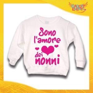 """Felpa Bianca Femminuccia Bimba """"Sono l'amore dei Nonni"""" Idea Regalo Maglione per l'inverno Festa dei Nonni Gadget Eventi"""