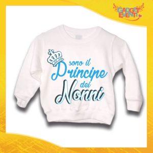 """Felpa Bianca Maschietto Bimbo """"Principe dei Nonni"""" Idea Regalo Maglione per l'inverno Festa dei Nonni Gadget Eventi"""