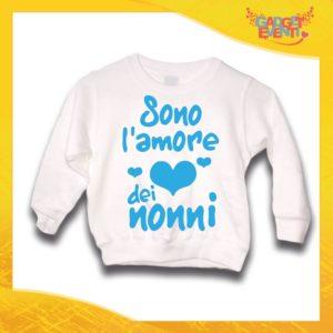 """Felpa Bianca Maschietto Bimbo """"Sono l'amore dei Nonni"""" Idea Regalo Maglione per l'inverno Festa dei Nonni Gadget Eventi"""