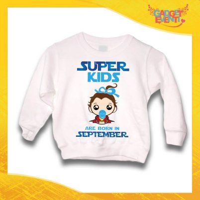 """Felpa Bianca Maschietto Bimbo """"Super Kids con Mese Personalizzato"""" Idea Regalo per Compleanni Gadget Eventi"""