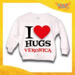 """Felpa Bianca Femminuccia Bimba Baby """"I Love Hugs con Nome"""" Idea Regalo Gadget Eventi"""