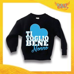 """Felpa Nera Maschietto Grafica Azzurra Bimbo """"Ti Voglio bene Nonno"""" Idea Regalo Maglione per l'inverno Festa dei Nonni Gadget Eventi"""