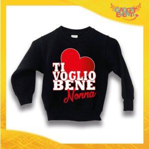 """Felpa Nera Grafica Rossa Bimbo """"Ti Voglio bene Nonna"""" Idea Regalo Maglione per l'inverno Festa dei Nonni Gadget Eventi"""