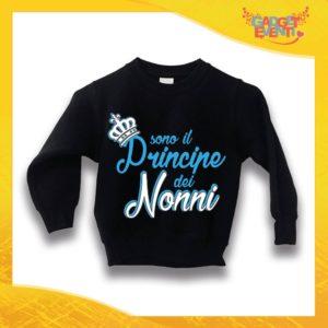 """Felpa Nera Maschietto Bimbo """"Principe dei Nonni"""" Idea Regalo Maglione per l'inverno Festa dei Nonni Gadget Eventi"""