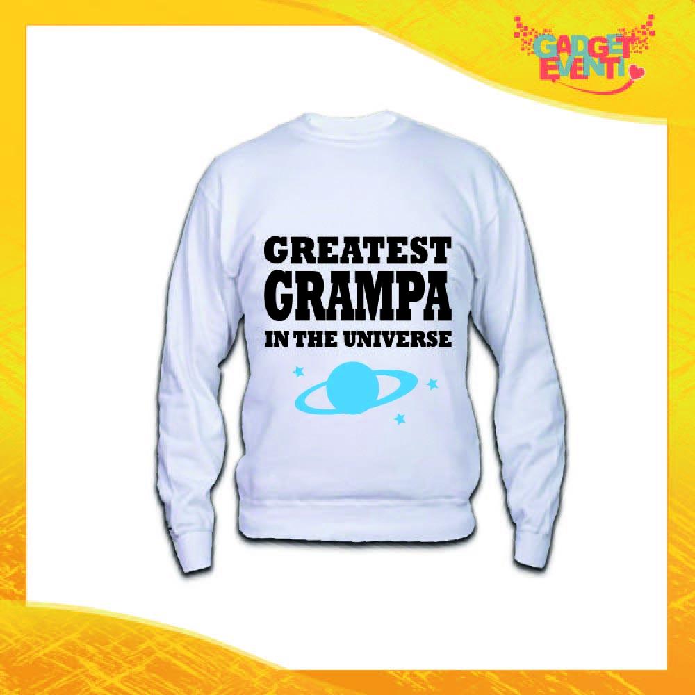 """Felpa Uomo Bianca """"Greatest Grampa in the Universe"""" Idea Regalo Nonno Maglione Festa dei Nonni Gadget Eventi"""