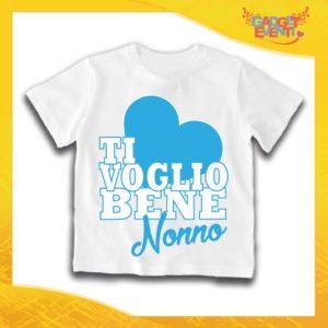 """Maglietta Bianca Maschietto Grafica Azzurra Bimbo """"Ti Voglio Bene Nonno"""" Idea Regalo T-Shirt Festa dei Nonni Gadget Eventi"""