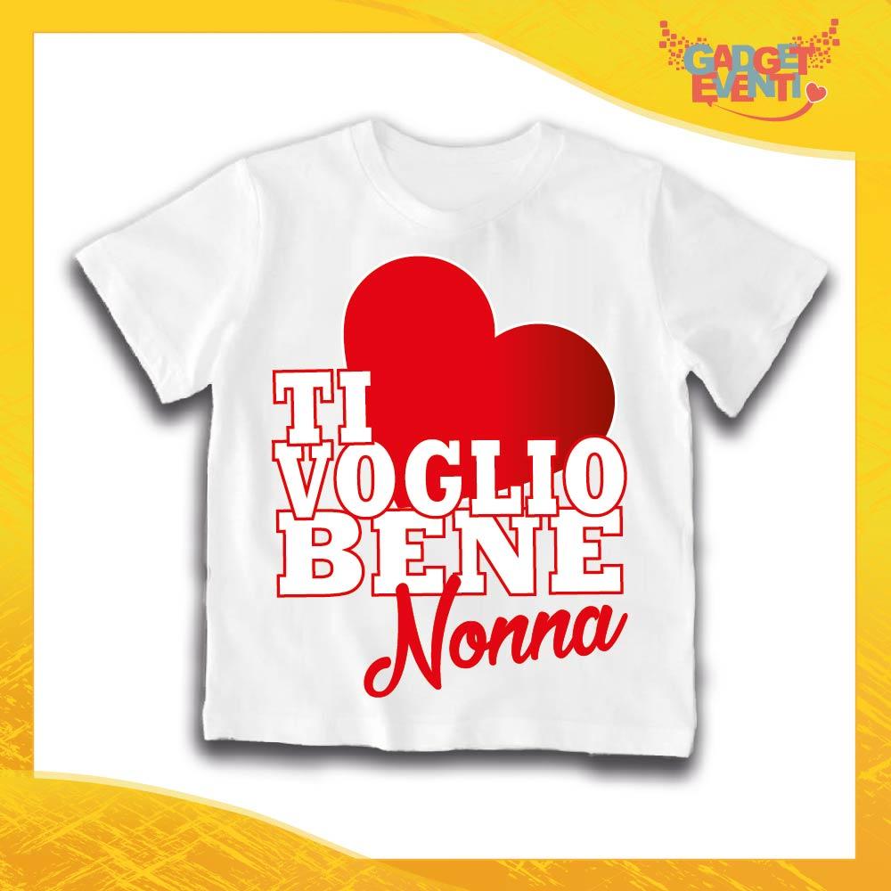 """Maglietta Bianca Grafica Rossa Bimbo """"Ti Voglio Bene Nonna"""" Idea Regalo T-Shirt Festa dei Nonni Gadget Eventi"""