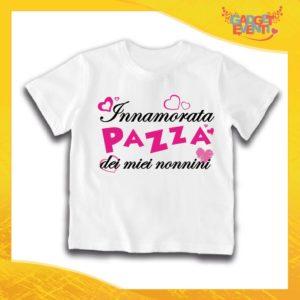 """Maglietta Bianca Femminuccia Bimba """"Innamorata Pazza dei miei Nonni"""" Idea Regalo T-Shirt Festa dei Nonni Gadget Eventi"""