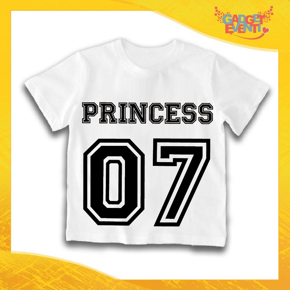 """Maglietta Bianca Femminuccia Bimba """"Princess con Numero"""" Idea Regalo T-Shirt Gadget Eventi"""