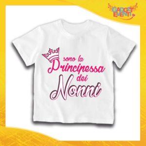 """Maglietta Bianca Femminuccia Bimba """"Principessa dei Nonni"""" Idea Regalo T-Shirt Festa dei Nonni Gadget Eventi"""
