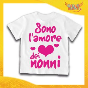"""Maglietta Bianca Femminuccia Bimba """"Sono l'amore dei Nonni"""" Idea Regalo T-Shirt Festa dei Nonni Gadget Eventi"""