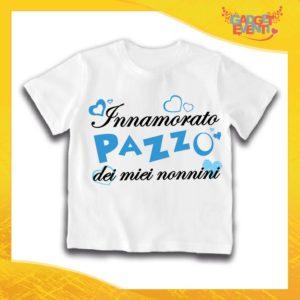 """Maglietta Bianca Maschietto Bimbo """"Innamorato Pazzo dei miei Nonni"""" Idea Regalo T-Shirt Festa dei Nonni Gadget Eventi"""