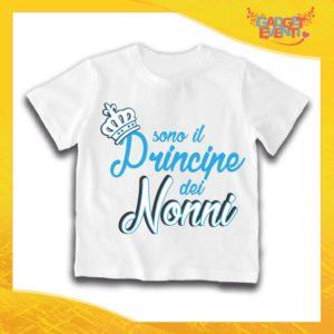 """Maglietta Bianca Maschietto Bimbo """"Principe dei Nonni"""" Idea Regalo T-Shirt Festa dei Nonni Gadget Eventi"""
