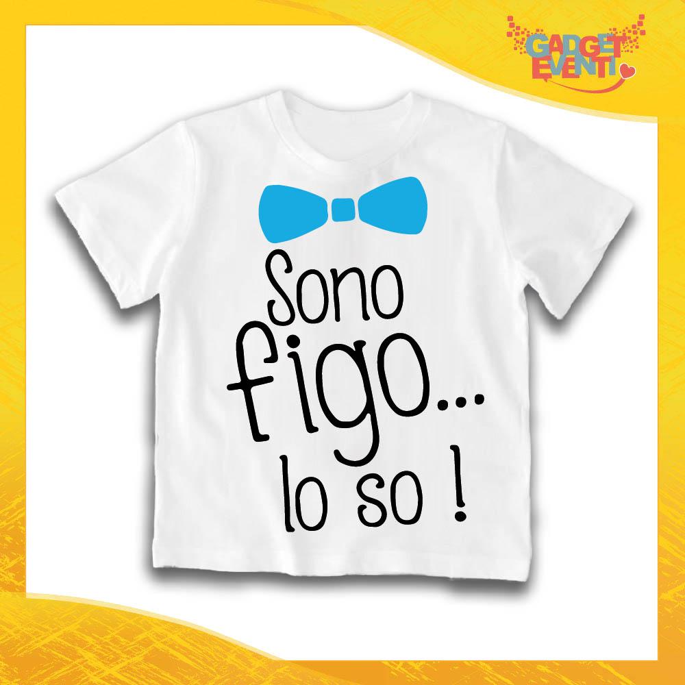 """Maglietta Bianca Maschietto Bimbo """"Sono figo lo so"""" Idea Regalo T-Shirt Gadget Eventi"""