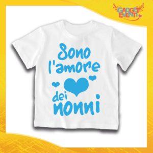"""Maglietta Bianca Maschietto Bimbo """"Sono l'amore dei Nonni"""" Idea Regalo T-Shirt Festa dei Nonni Gadget Eventi"""