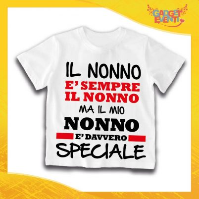 """Maglietta Bianca Bimbo """"Nonno è Speciale"""" Idea Regalo T-Shirt Festa dei Nonni Gadget Eventi"""