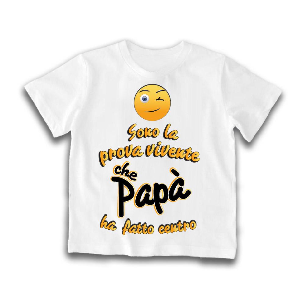"""Maglietta Bianca """"Papà ha fatto centro"""" Idea Regalo T-Shirt Gadget Eventi"""