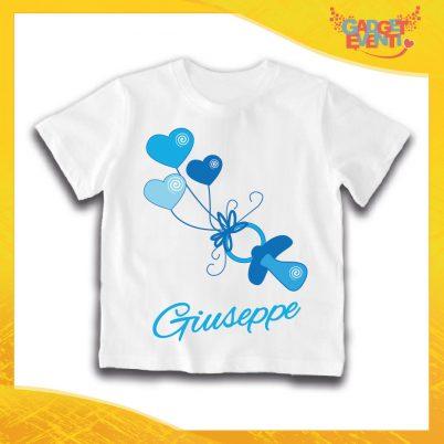 """Maglietta Bianca Maschietto Bimbo """"Ciucciotto con Nome Personalizzato"""" Idea Regalo T-Shirt Gadget Eventi"""