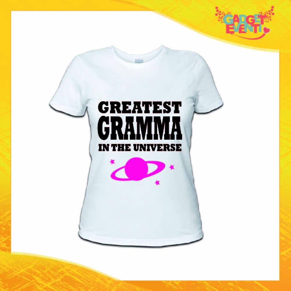 """Maglietta Donna Bianca """"Greatest Gramma in the Universe"""" Idea Regalo Nonna T-Shirt Festa dei Nonni Gadget Eventi"""