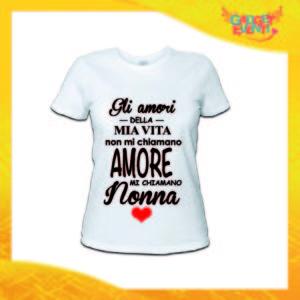 """Maglietta Donna Bianca """"Mi Chiamano Nonna"""" Idea Regalo Nonna T-Shirt Festa dei Nonni Gadget Eventi"""
