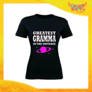 "Maglietta Donna Nera ""Greatest Gramma in the Universe"" Idea Regalo Nonna T-Shirt Festa dei Nonni Gadget Eventi"