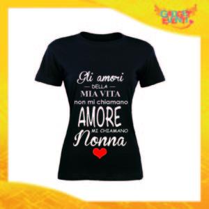 """Maglietta Donna Nera """"Mi Chiamano Nonna"""" Idea Regalo Nonna T-Shirt Festa dei Nonni Gadget Eventi"""