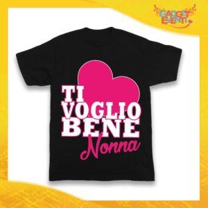 """Maglietta Nera Femminuccia Grafica Rosa Bimba """"Ti Voglio Bene Nonna"""" Idea Regalo T-Shirt Festa dei Nonni Gadget Eventi"""