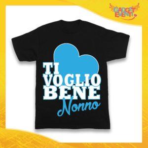"""Maglietta Nera Maschietto Grafica Azzurra Bimbo """"Ti Voglio Bene Nonno"""" Idea Regalo T-Shirt Festa dei Nonni Gadget Eventi"""