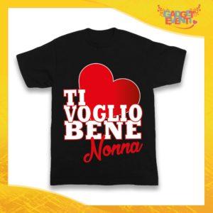 """Maglietta Nera Grafica Rossa Bimbo """"Ti Voglio Bene Nonna"""" Idea Regalo T-Shirt Festa dei Nonni Gadget Eventi"""