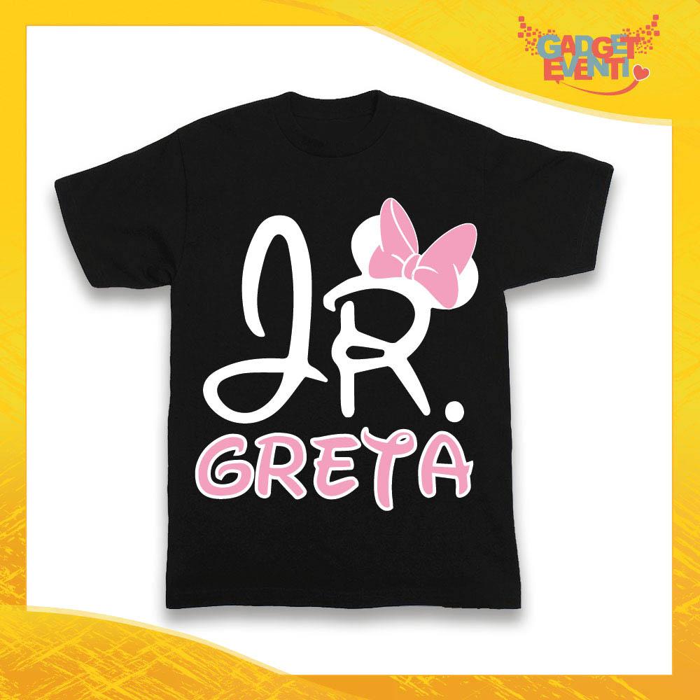 """Maglietta Nera Femminuccia Bimba """"Junior Topolino con Nome"""" Idea Regalo T-Shirt Gadget Eventi"""