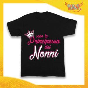"""Maglietta Nera Femminuccia Bimba """"Principessa dei Nonni"""" Idea Regalo T-Shirt Festa dei Nonni Gadget Eventi"""