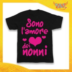 """Maglietta Nera Femminuccia Bimba """"Sono l'amore dei Nonni"""" Idea Regalo T-Shirt Festa dei Nonni Gadget Eventi"""