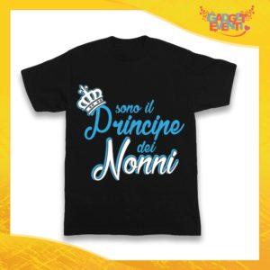 """Maglietta Nera Maschietto Bimbo """"Principe dei Nonni"""" Idea Regalo T-Shirt Festa dei Nonni Gadget Eventi"""