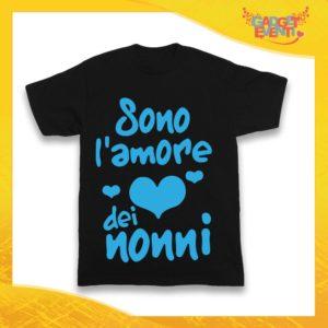 """Maglietta Nera Maschietto Bimbo """"Sono l'amore dei Nonni"""" Idea Regalo T-Shirt Festa dei Nonni Gadget Eventi"""