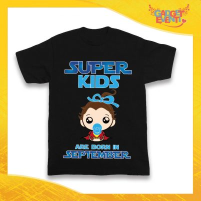 """Maglietta Nera Maschietto Bimbo """"Super Kids con Mese Personalizzato"""" Idea Regalo T-Shirt per Compleanni Gadget Eventi"""