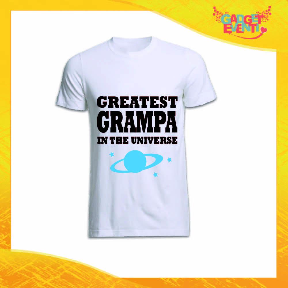 """Maglietta Uomo Bianca """"Greatest Grampa in the Universe"""" Idea Regalo Nonno T-Shirt Festa dei Nonni Gadget Eventi"""